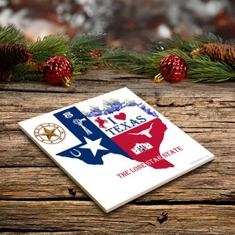 """Texas Ceramic 4""""x4"""" Coaster"""