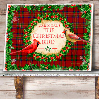 Cardinals The Christmas Bird Ceramic Tile
