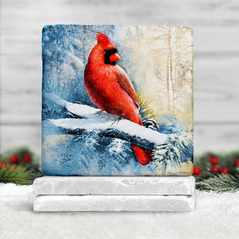 Cardinal in Snow Stone Tile Coaster