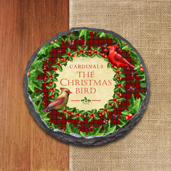 Cardinals The Christmas Bird Slate Coaster