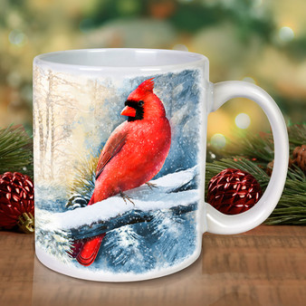 Cardinals on Snowy Branches  Mug