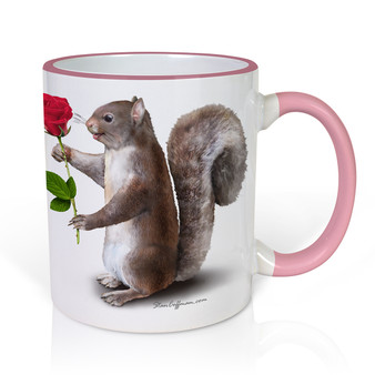Squirrels in Love with a Rose Mug