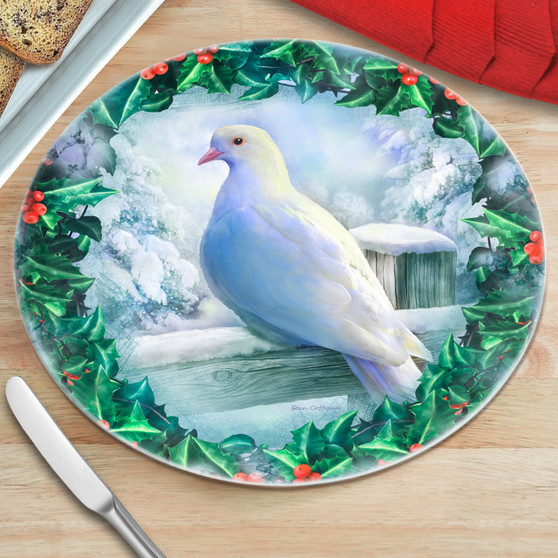Dove and Holly Round Glass Cutting Board