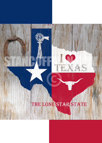 I Love Texas State Flag with Windmill and Longhorn (Digital Download)