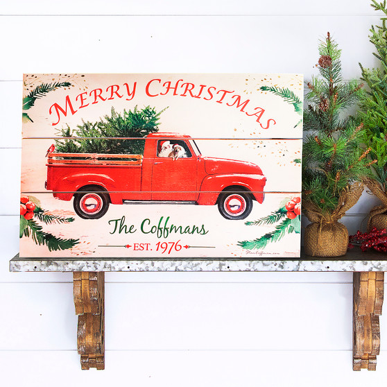 Personalized Red Truck on Wood Plank Board