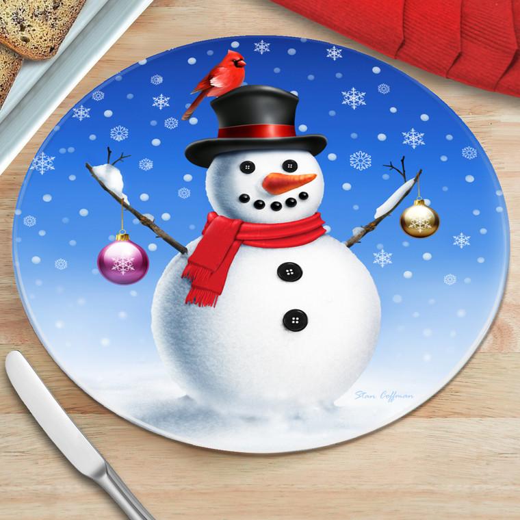 "8"" Snowman Round Glass Cutting Board"