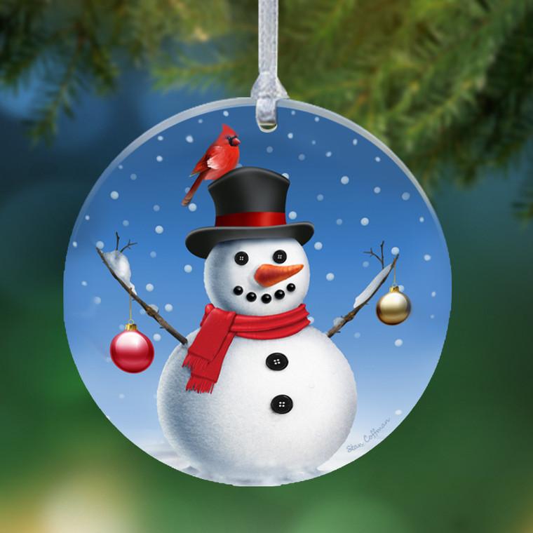 Snowman Acrylic Round Ornament
