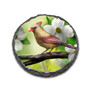 """4"""" Round Slate Coaster with Male and Female Cardinals"""
