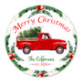 Personalized Red Truck Round Glass Cutting Board