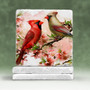 Male and Female Cardinals Stone Tile Coaster