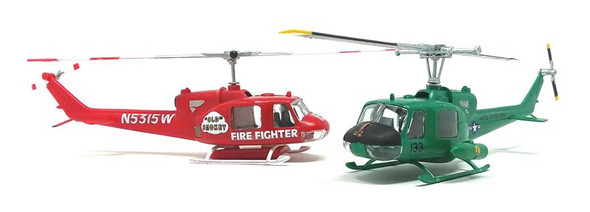 Huey Chopper 2 Pack Fire Fighter and Vietnam Gunship Snap 1/72