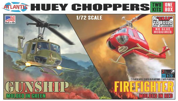 Huey Chopper 2 Pack Fire Fighter and Vietnam Gunship Snap 1/72