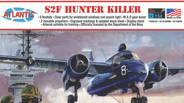 Grumman US NAVY S2F Tracker Hunter Killer Plastic Model kit 1/54
