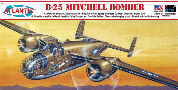 B-25 Mitchell Bomber Flying Dragon Plastic Model Kit 1/64