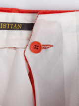 Close Up of Mens Burnt Orange Corduroy Trousers French Bearer