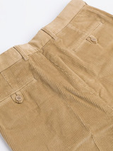 Close Up of Mens Sand Brown Corduroy Trousers Rear Pockets