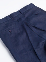 Buttoned Hip Pockets on Navy Linen Suit