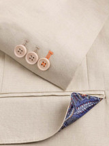 Working Button Cuff on Natural Linen Jacket