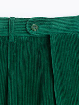 Close Up of Mens Emerald Green Corduroy Trousers Fabric