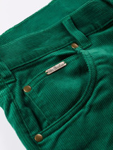 Close Up of Emerald Green Needle Cord Jeans Fabric