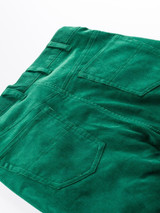 Close Up of Emerald Green Needle Cord Jeans Rear Pockets