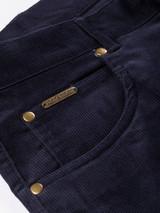 Close Up of Indigo Blue Needle Cord Jeans Fabric