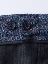 Close Up of Blue Fine Donegal Tweed Trousers Adjustable Waistband