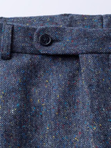 Close Up of Blue Fine Donegal Tweed Trousers Button Detail