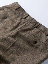 Close Up of Bronze Fine Donegal Tweed Trousers Rear Pockets