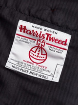 Close Up of Mist Blue Harris Tweed Trousers Orb Logo