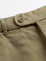 Close Up of Loden Green Moleskin Trousers Details