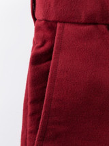 Close Up of Mulberry Red Moleskin Trousers Fabric