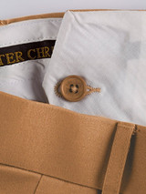 Close Up of Tan Brown Pleated Chino Trousers French Bearer
