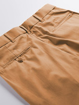 Close Up of Tan Brown Pleated Chino Trousers Rear Pockets