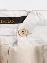 Close Up of Stone White Flat Front Chino Trousers French Bearer