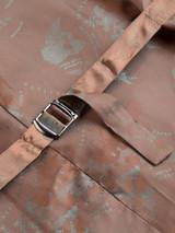 Close Up of Lichen Green Brown Harris Tweed Waistcoat Lining