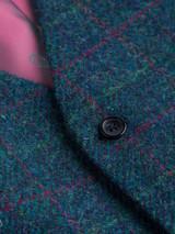 Close Up of Marine Blue Harris Tweed Waistcoat Fabric