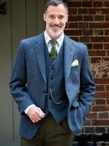 Model Wearing Blue Harris Tweed Jacket