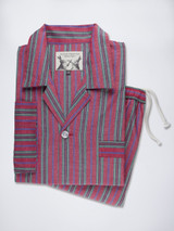 Folded Red Fine Cotton Striped Mens Pyjamas