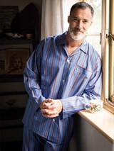 Model wearing Blue Fine Cotton Striped Pyjamas