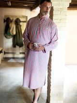 Image of Mens Red Cotton Traditional Nightshirt
