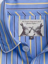 Close Up of Mens Blue Organic Cotton Nightshirt Fabric