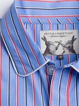 Close Up of Mens Cotton Blue Nightshirt Fabric