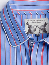 Close Up of Mens Organic Cotton Blue Nightshirt Fabric