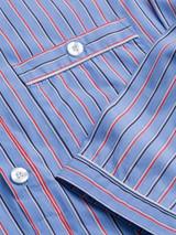 Close Up of Mens Organic Cotton Blue Nightshirt Details