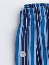 Close Up of Navy & Blue Club Striped Mens Pyjamas Details