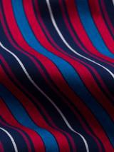 Close Up of Navy & Red Club Striped Pyjamas fabric
