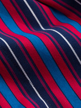 Close Up of Navy & Red Club Stripe Mens Dressing Gown fabric