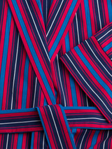 Close Up of Navy & Red Club Stripe Mens Dressing Gown details
