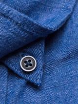 Close Up of Blue Short Sleeve Linen and Cotton Shirt Details
